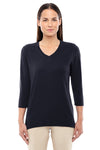 Devon & Jones DP184W Womens Perfect Fit 3/4 Sleeve V-Neck T-Shirt Black Front