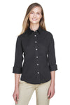 Devon & Jones DP625W Womens Perfect Fit 3/4 Sleeve Button Down Shirt Black Front