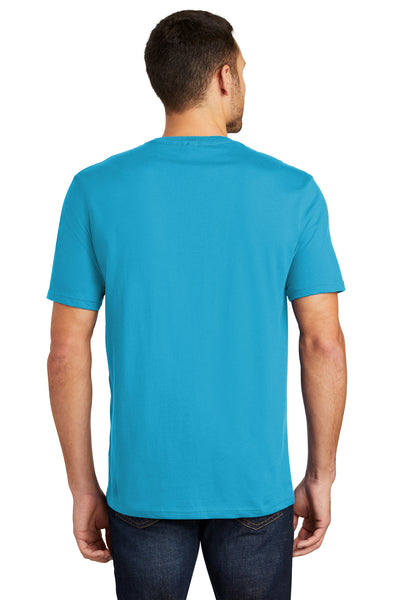 District DT104 Mens Perfect Weight Short Sleeve Crewneck T-Shirt Turquoise Blue Back