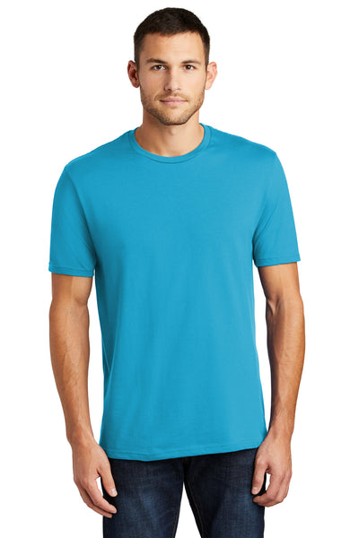 District DT104 Mens Perfect Weight Short Sleeve Crewneck T-Shirt Turquoise Blue Front