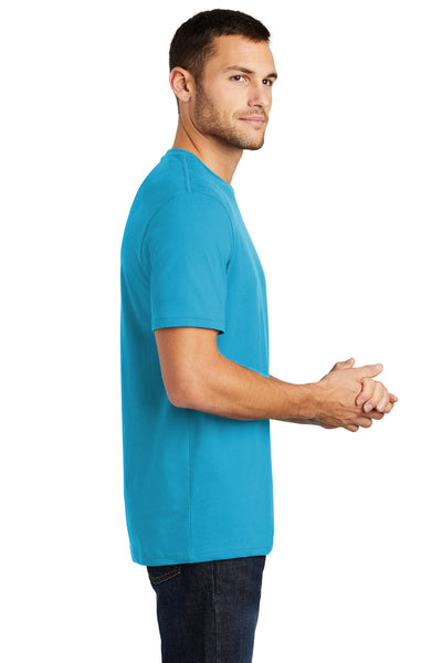District DT104 Mens Perfect Weight Short Sleeve Crewneck T-Shirt Turquoise Blue Side