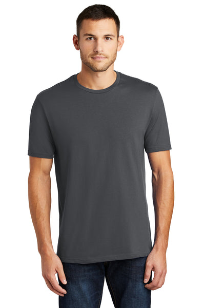 District DT104 Mens Perfect Weight Short Sleeve Crewneck T-Shirt Charcoal Grey Front