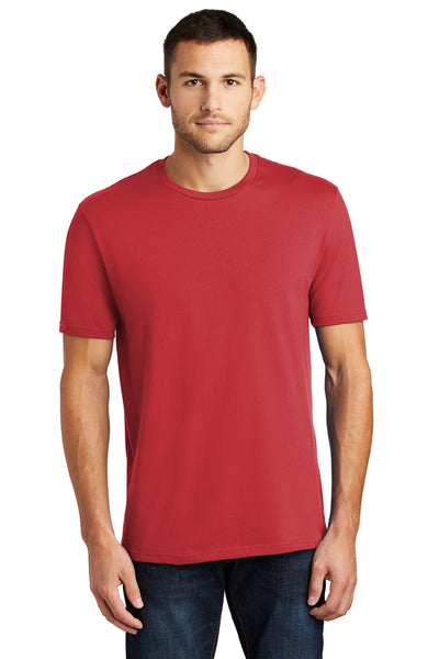 District DT104 Mens Perfect Weight Short Sleeve Crewneck T-Shirt Red Front