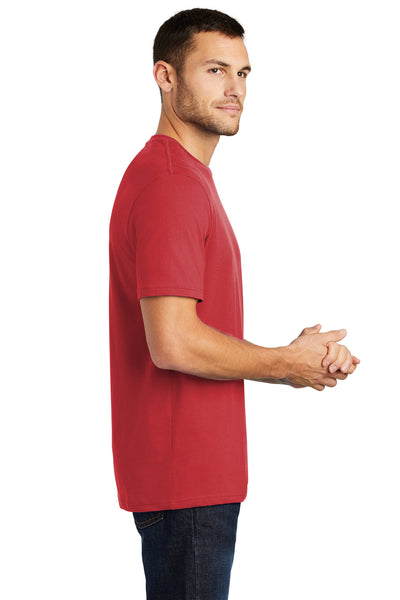 District DT104 Mens Perfect Weight Short Sleeve Crewneck T-Shirt Red Side