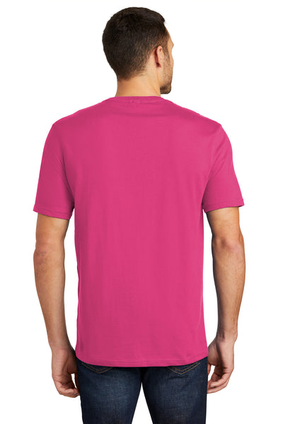 District DT104 Mens Perfect Weight Short Sleeve Crewneck T-Shirt Fuchsia Pink Back