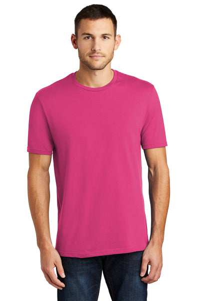 District DT104 Mens Perfect Weight Short Sleeve Crewneck T-Shirt Fuchsia Pink Front