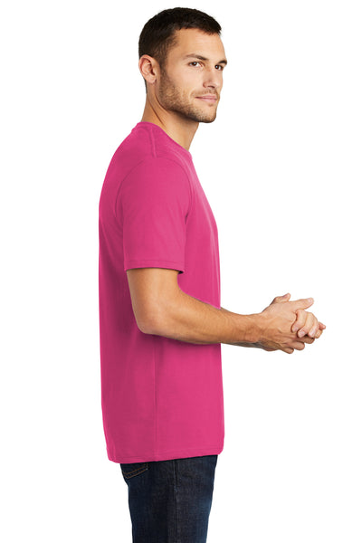 District DT104 Mens Perfect Weight Short Sleeve Crewneck T-Shirt Fuchsia Pink Side