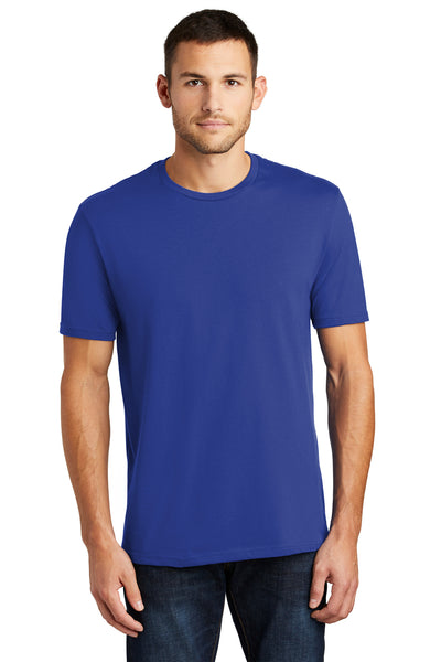 District DT104 Mens Perfect Weight Short Sleeve Crewneck T-Shirt Royal Blue Front