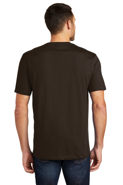 District DT104 Mens Perfect Weight Short Sleeve Crewneck T-Shirt Espresso Brown Back