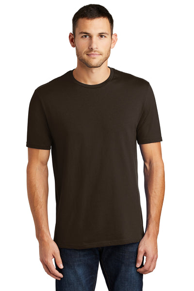District DT104 Mens Perfect Weight Short Sleeve Crewneck T-Shirt Espresso Brown Front