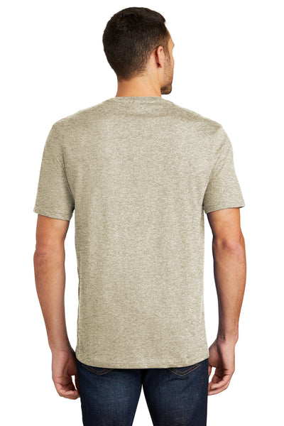 District DT104 Mens Perfect Weight Short Sleeve Crewneck T-Shirt Heather Latte Brown Back