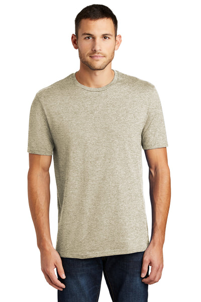 District DT104 Mens Perfect Weight Short Sleeve Crewneck T-Shirt Heather Latte Brown Front