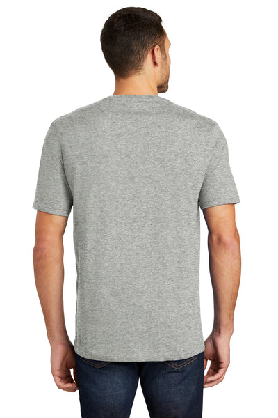 District DT104 Mens Perfect Weight Short Sleeve Crewneck T-Shirt Heather Steel Grey Back