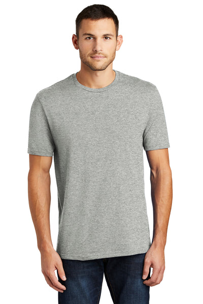District DT104 Mens Perfect Weight Short Sleeve Crewneck T-Shirt Heather Steel Grey Front