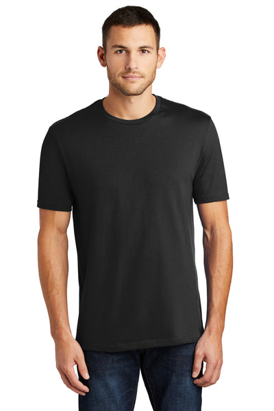 District DT104 Mens Perfect Weight Short Sleeve Crewneck T-Shirt Black Front