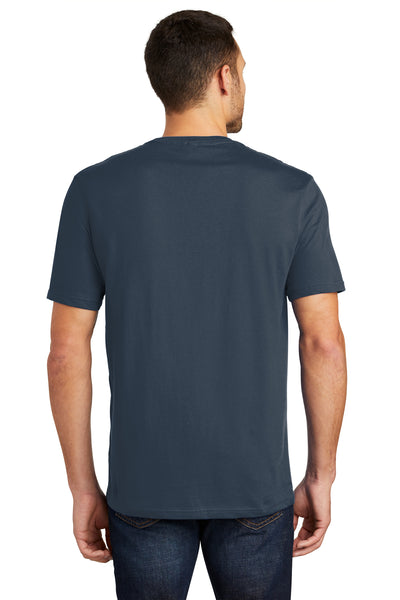 District DT104 Mens Perfect Weight Short Sleeve Crewneck T-Shirt Navy Blue Back