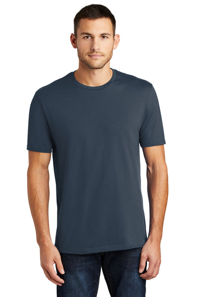 District DT104 Mens Perfect Weight Short Sleeve Crewneck T-Shirt Navy Blue Front