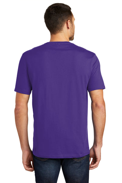 District DT104 Mens Perfect Weight Short Sleeve Crewneck T-Shirt Purple Back