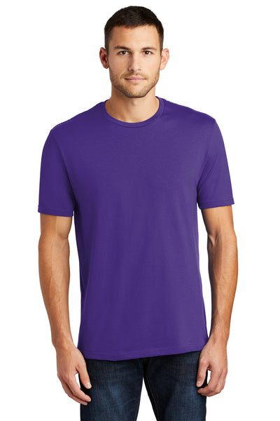 District DT104 Mens Perfect Weight Short Sleeve Crewneck T-Shirt Purple Front