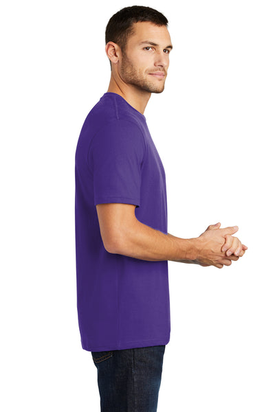 District DT104 Mens Perfect Weight Short Sleeve Crewneck T-Shirt Purple Side