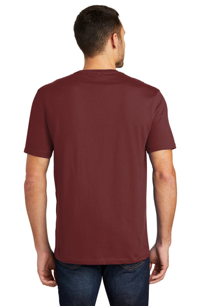 District DT104 Mens Perfect Weight Short Sleeve Crewneck T-Shirt Sangria Red Back