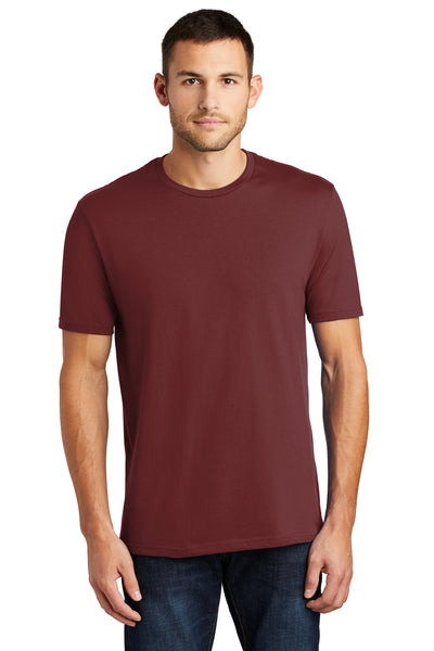 District DT104 Mens Perfect Weight Short Sleeve Crewneck T-Shirt Sangria Red Front