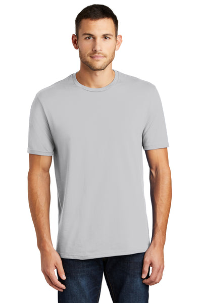 District DT104 Mens Perfect Weight Short Sleeve Crewneck T-Shirt Silver Grey Front