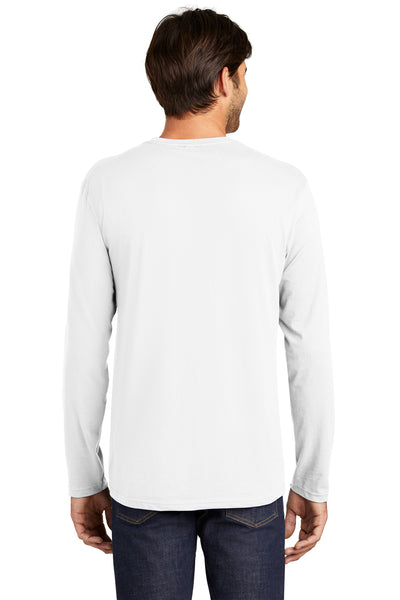 District DT105 Mens Perfect Weight Long Sleeve Crewneck T-Shirt White Back