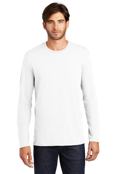 District DT105 Mens Perfect Weight Long Sleeve Crewneck T-Shirt White Front