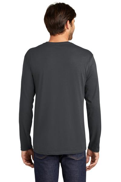 District DT105 Mens Perfect Weight Long Sleeve Crewneck T-Shirt Charcoal Grey Back