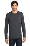 District DT105 Mens Perfect Weight Long Sleeve Crewneck T-Shirt Charcoal Grey Front