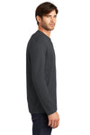 District DT105 Mens Perfect Weight Long Sleeve Crewneck T-Shirt Charcoal Grey Side