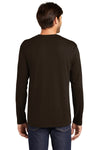 District DT105 Mens Perfect Weight Long Sleeve Crewneck T-Shirt Espresso Brown Back