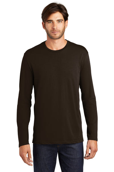 District DT105 Mens Perfect Weight Long Sleeve Crewneck T-Shirt Espresso Brown Front