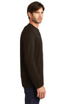 District DT105 Mens Perfect Weight Long Sleeve Crewneck T-Shirt Espresso Brown Side