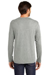 District DT105 Mens Perfect Weight Long Sleeve Crewneck T-Shirt Heather Steel Grey Back