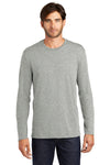 District DT105 Mens Perfect Weight Long Sleeve Crewneck T-Shirt Heather Steel Grey Front