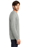 District DT105 Mens Perfect Weight Long Sleeve Crewneck T-Shirt Heather Steel Grey Side