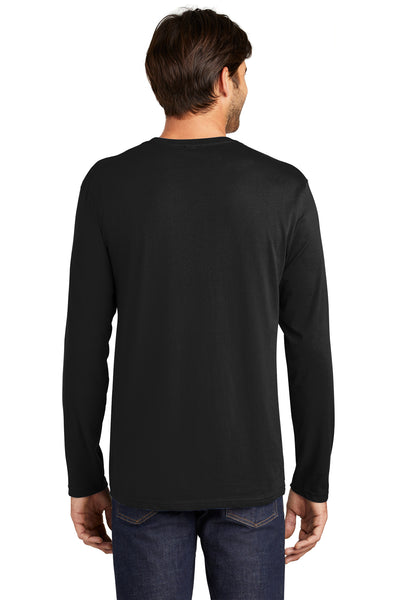 District DT105 Mens Perfect Weight Long Sleeve Crewneck T-Shirt Black Back