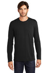 District DT105 Mens Perfect Weight Long Sleeve Crewneck T-Shirt Black Front