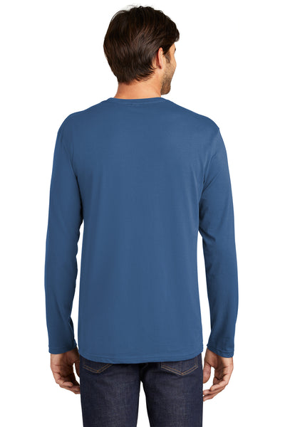District DT105 Mens Perfect Weight Long Sleeve Crewneck T-Shirt Maritime Blue Back