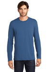 District DT105 Mens Perfect Weight Long Sleeve Crewneck T-Shirt Maritime Blue Front