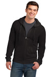 District DT1100 Mens Full Zip Hooded Sweatshirt Hoodie Black Front