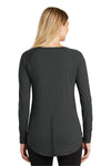 District DT132L Womens Perfect Tri Long Sleeve Crewneck T-Shirt Black Frost Back