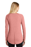 District DT132L Womens Perfect Tri Long Sleeve Crewneck T-Shirt Blush Pink Frost Back