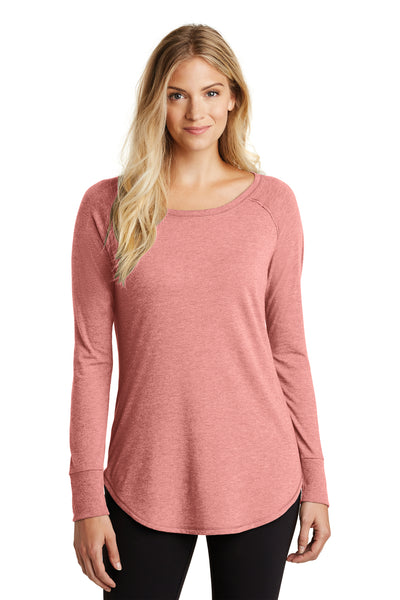 District DT132L Womens Perfect Tri Long Sleeve Crewneck T-Shirt Blush Pink Frost Front