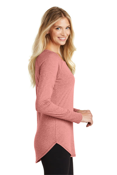 District DT132L Womens Perfect Tri Long Sleeve Crewneck T-Shirt Blush Pink Frost Side