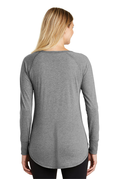 District DT132L Womens Perfect Tri Long Sleeve Crewneck T-Shirt Grey Frost Back