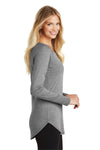 District DT132L Womens Perfect Tri Long Sleeve Crewneck T-Shirt Grey Frost Side