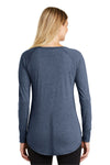 District DT132L Womens Perfect Tri Long Sleeve Crewneck T-Shirt Navy Blue Frost Back